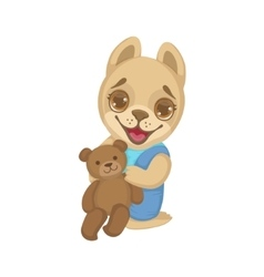 Puppy With Teddy Bear vector image vector image