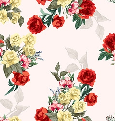 seamless floral pattern with yellow and red roses vector image