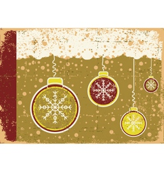 vintage christmas card on snow background with vector image vector image