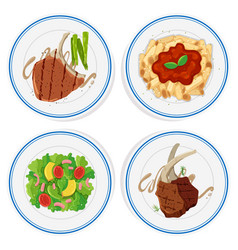four types of food on round plates vector image