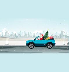 Santa driving vector