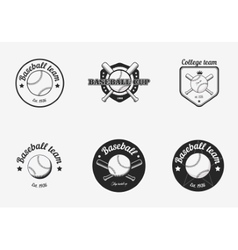 Set of vintage black and white baseball vector image vector image
