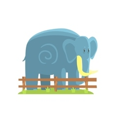 Simplified Blue Elephant Standing On Green Grass vector image vector image