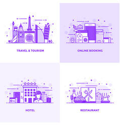 Flat line purple designed concepts 6 vector