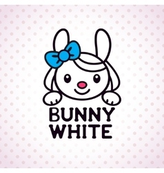 Little white bunny girl vector image