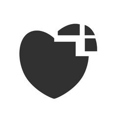 Black icon on white background heart disease vector