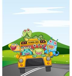 monsters in schoolbus vector image vector image
