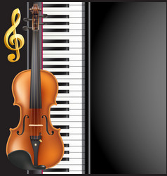 piano and violin realistic musical instruments vector image