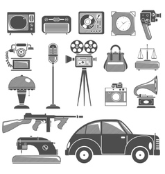 Retro Black White Objects Set vector image vector image