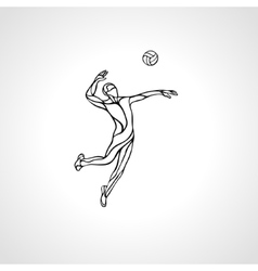 Volleyball player outline silhouette vector image vector image
