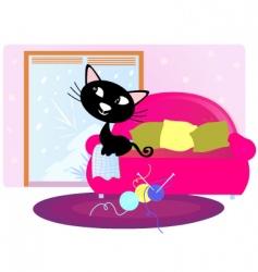 xmas cat sitting on sofa vector image vector image