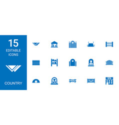 15 country icons vector