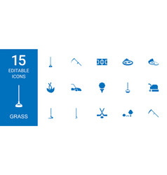 15 grass icons vector image