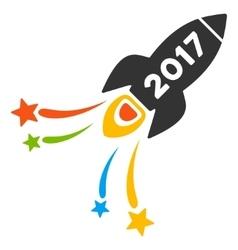 2017 fireworks rocket flat icon vector