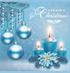a christmas card with candle balls and flower vector image