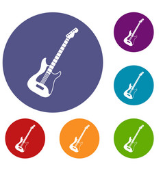 Acoustic guitar icons set vector