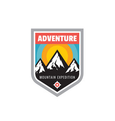 adventure outdoors - concept badge mountain vector image