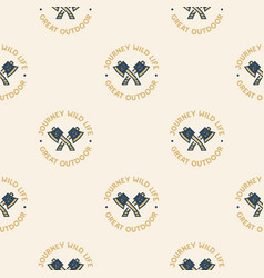 adventure seamless pattern with camping axes vector image