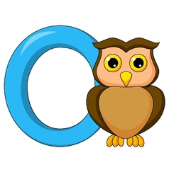 Alphabet O with owl cartoon vector