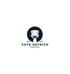 Animal bird ostrich head face cute silhouette vector