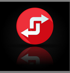 arrows icon red sign with reflection on black vector image