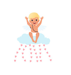 baby cupid character sitting on a cloud throwing vector image