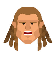 Barbarian face berserk brutal man head warrior vector