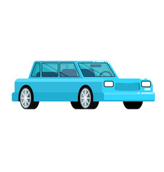 blue citycar icon in flat design vector image