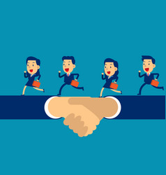 business team running on hand shake concept vector image