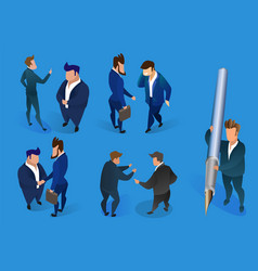 businessmen characters set on blue background vector image