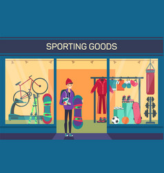Buyer at sporting goods store sports department vector