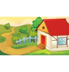 Cartoon Landscape With House vector