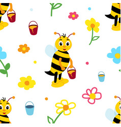 children repeating pattern with cheerful bee in vector image
