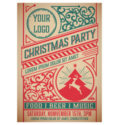 christmas party flyer retro typography vector image
