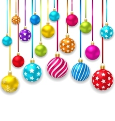 Collection Colorful Christmas Ornamental Balls vector image
