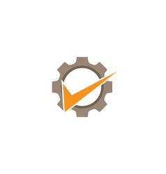 Creative abstract gear orange check logo design vector