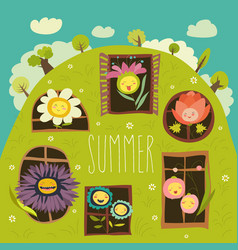 cute summer flowers looking out of windows vector image