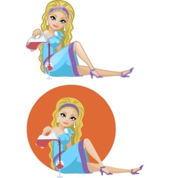 Cute young Caucasian woman in cocktail dress vector image
