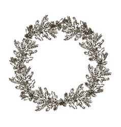 decorative wreath made branches and cones of vector image