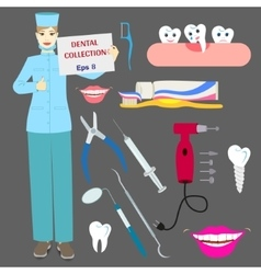 Dental collection with doctor and tools vector