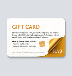 design gift card with gold glossy corner vector image