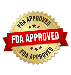 fda approved round isolated gold badge vector image