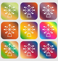 Ferris wheel icon Nine buttons with bright vector