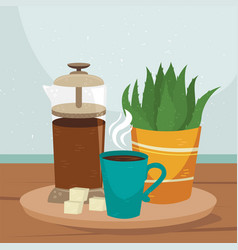 Flat french press with a cup coffee and plant vector