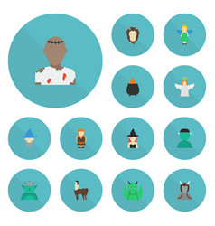 flat icons flying monster character and other vector image
