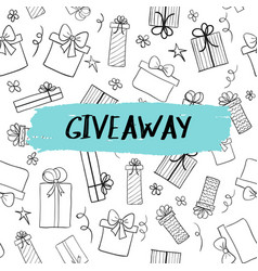 Giveaway card with gift boxes pattern vector