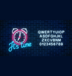 Glowing neon sign with alarm clock and cheering vector
