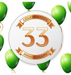 Golden number thirty three years anniversary vector image