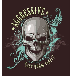 Grunge image with skull vector image
