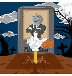 halloween cartoon resurrect pumpkin vector image